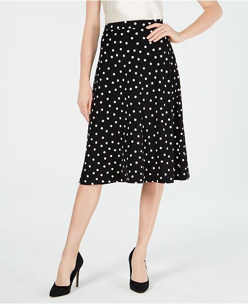 8f0c6992345 Kasper Dot-Print A-Line Midi Skirt   Reviews - Skirts - Women - Macy s