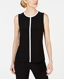 Piped Sleeveless Crewneck Top