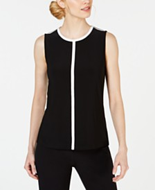 Anne Klein Piped Sleeveless Crewneck Top
