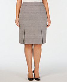Kasper Plus Size Stretch Tweed Carwash Skirt