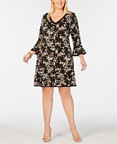 0bba0300f796c MICHAEL Michael Kors Plus Size Flounce-Sleeve Dress