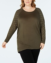 a074f9aac6162 MICHAEL Michael Kors Plus Size Studded-Sleeve Top