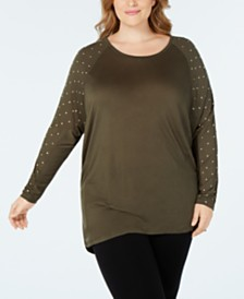 MICHAEL Michael Kors Plus Size Studded-Sleeve Top