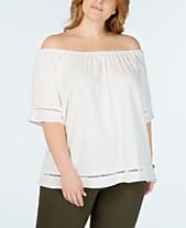 534a886e0dc2c MICHAEL Michael Kors Plus Size Cotton Off-The-Shoulder Top