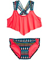 792533a0a84 Summer Crush Big Girls 2-Pc. Printed Flounce Bikini