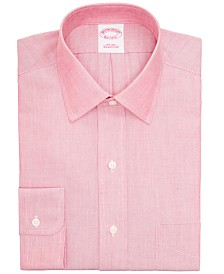 Brooks Brothers Men's Regent Classic/Regular-Fit Non-Iron Red Supima Cotton Dress Shirt