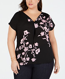 I.N.C. Plus Size Printed Woven Knit Top, Created for Macy's