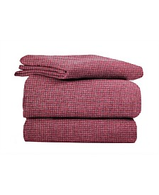 Heather Ground Gingham Flannel Sheet Set King