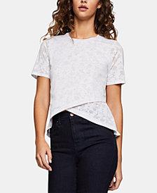 BCBGeneration Cross-Front Floral-Burnout T-Shirt
