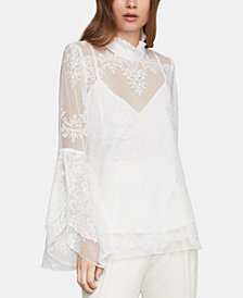 BCBGMAXAZRIA Embroidered Tulle Top