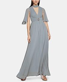 Embellished Flutter-Sleeve Gown
