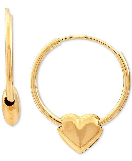 Macy's Children's Heart Hoop Earrings in 14k Gold