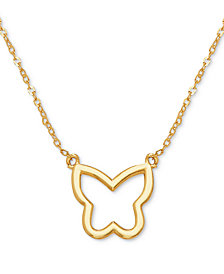 "Butterfly Openwork 17"" Pendant Necklace in 10k Gold"