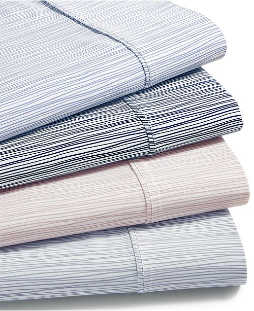 AQ Textiles CLOSEOUT! Modernist Printed Wavy Stripe 4-Pc. Sheet Sets, 750-Thread Count Cotton Blend, Created for Macy's