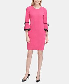 Calvin Klein Contrast-Trim Bell-Sleeve Sheath Dress