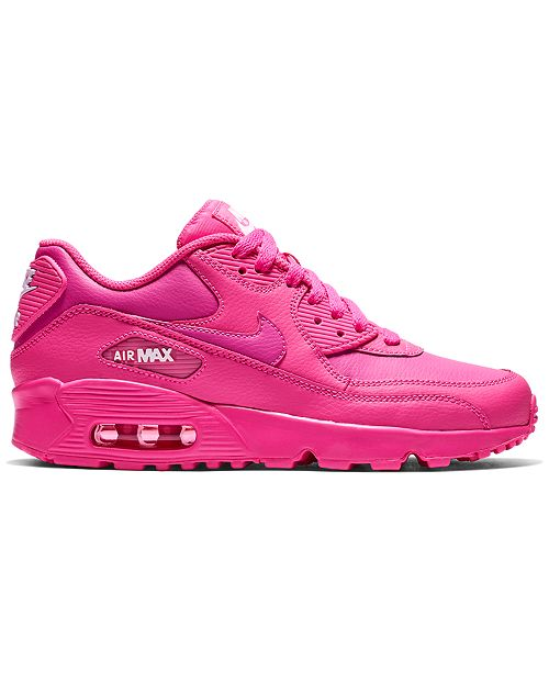Nike Girls' Air Max 90 Leather Running Sneakers from Finish