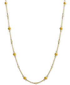 EFFY Yellow Sapphire (1-3/8 ct. t.w.) and Diamond (1/8 ct. t.w.) Necklace in 14k Gold, 18""