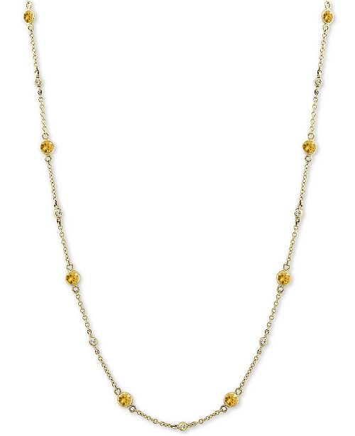 """EFFY Collection EFFY® Yellow Sapphire (1-3/8 ct. t.w.) and Diamond (1/8 ct. t.w.) Necklace in 14k Gold, 18"""""""