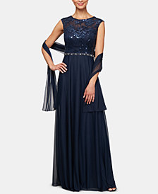 Alex Evenings Petite Embellished Gown & Shawl