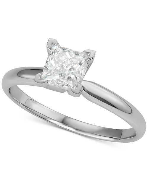Macy's Diamond Princess Solitaire Engagement Ring (1 ct. t.w.) in 14k White Gold