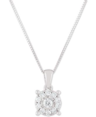 "Image of Diamond Halo 18"" Pendant Necklace (1/3 ct. t.w.)"