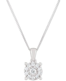 "Diamond Halo 18"" Pendant Necklace (1/3 ct. t.w.) in 14k White, Yellow or Rose Gold"
