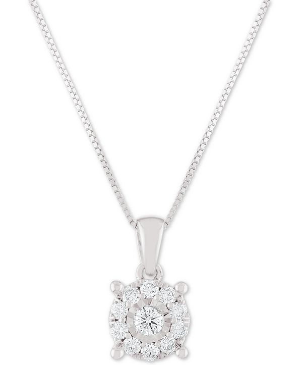 "Macy's Diamond Halo 18"" Pendant Necklace (1/3 ct. t.w.) in 14k White, Yellow or Rose Gold"