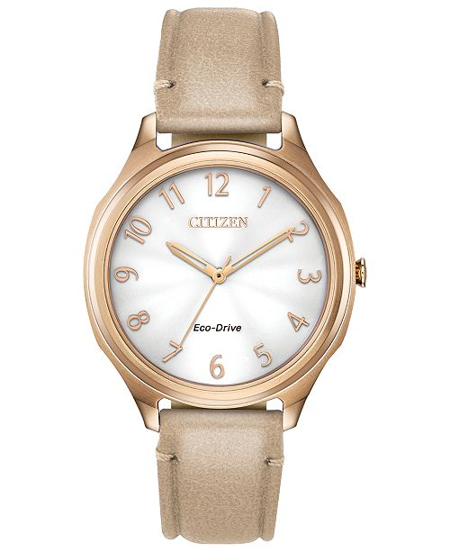 Citizen Eco-Drive Women's LTR Taupe Leather Strap Watch 35mm