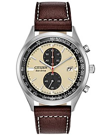 Eco-Drive Men's Chronograph Chandler Brown Leather Strap Watch 43mm
