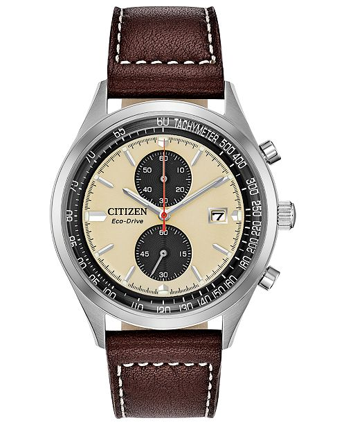 Citizen Eco-Drive Men's Chronograph Chandler Brown Leather Strap Watch 43mm