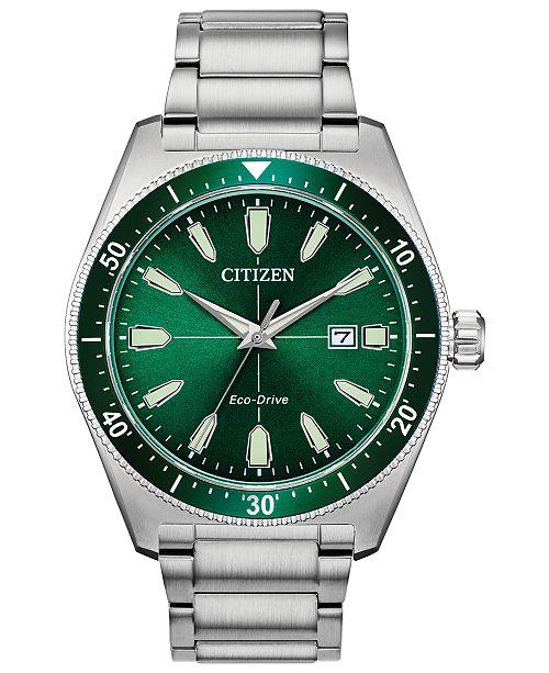 Eco Drive Men S Brycen Stainless Steel Bracelet Watch 43mm