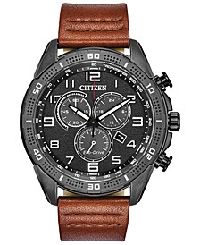 Drive From Citizen Eco-Drive Men's LTR Brown Leather Strap Watch 45mm