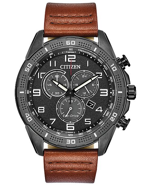 Citizen Drive From Citizen Eco-Drive Men's LTR Brown Leather Strap Watch 45mm