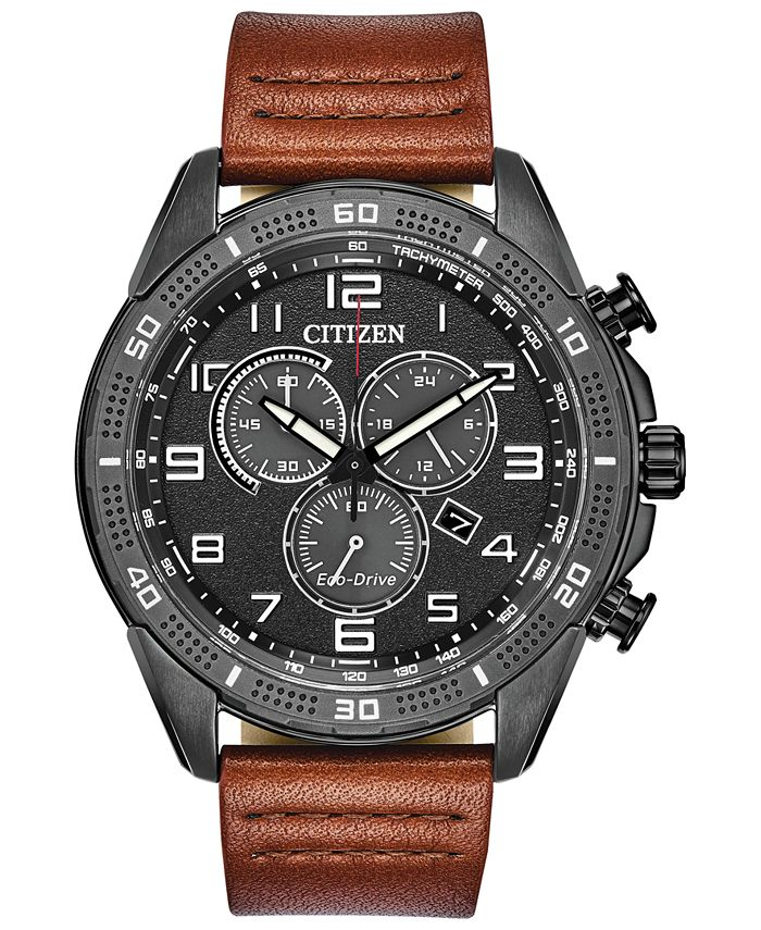 Citizen - Men's LTR Brown Leather Strap Watch 45mm