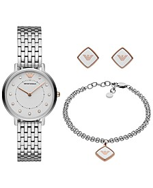 Women's Stainless Steel Bracelet Watch 32mm Gift Set