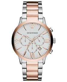 Emporio Armani Men's Chronograph Two-Tone Stainless Steel Bracelet Watch 44mm