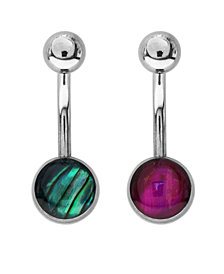 Bodifine Stainless Steel Synthetic Mother of Pearl Ball Belly Bars Set of 2