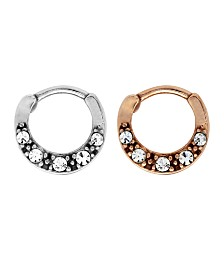 Bodifine Stainless Steel Set of 2 Colors Multi Crystal Cartilage Rings