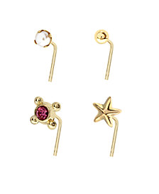 Bodifine 9 Carat Gold Pearl and Shaped Nose Studs Set of 4