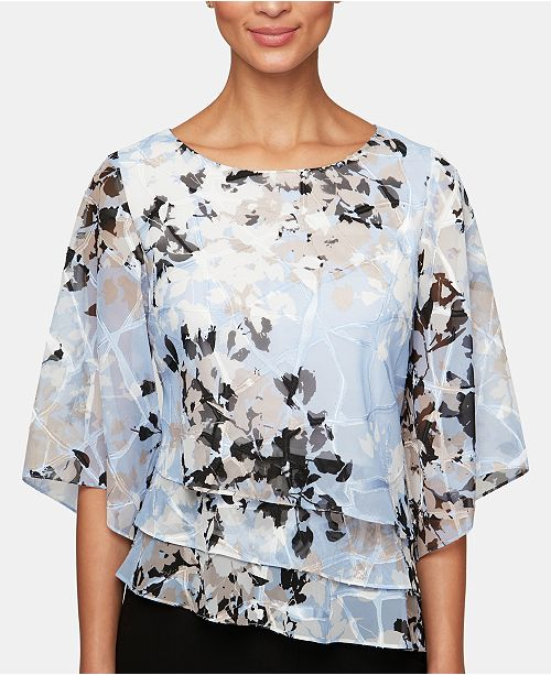 Alex Evenings Printed Tiered Chiffon Top