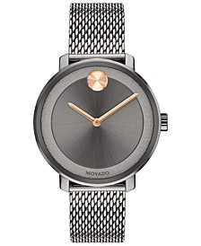Women's Swiss BOLD Gray Stainless Steel Mesh Bracelet Watch 34mm