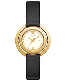 Tory Burch Women's Grier Black Leather Strap Watch 26mm