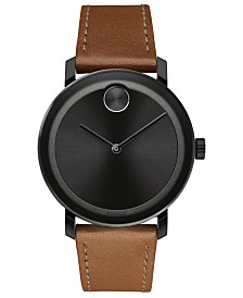 Movado Men's Swiss BOLD Cognac Leather Strap Watch 40mm