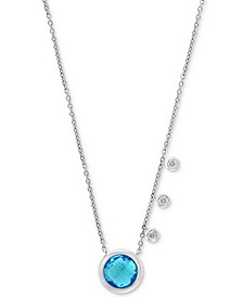 "EFFY® Blue Topaz (2 ct. t.w.) & Diamond (1/10 ct. t.w.) 18"" Pendant Necklace in 14k White Gold"