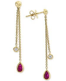 EFFY® Certified Ruby (5/8 ct. t.w.) and Diamond Accent Drop Earrings in 14k Gold