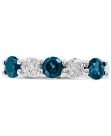 EFFY® Aquamarine (5/8 ct. t.w.) and White Sapphire (5/8 ct. t.w.) Ring in 14k white gold