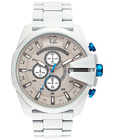 Diesel Men's Chronograph Mega Chief White Stainless Steel Bracelet Watch 51mm