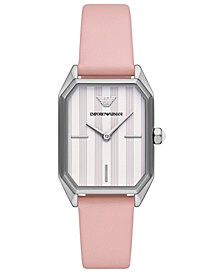 Emporio Armani Women's Pink Leather Strap Watch 24x35mm