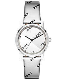 DKNY Women's Soho Silver-Tone Leather Strap Watch 34mm