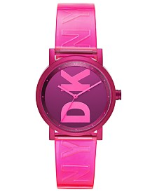 DKNY Women's Soho Pink Polyurethane Strap Watch 34mm